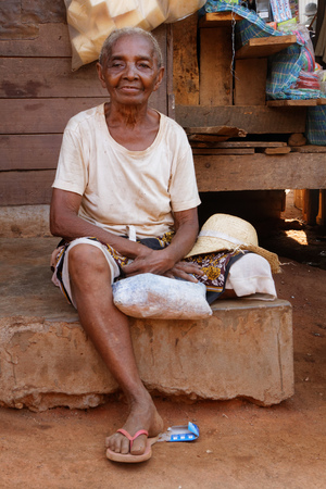 majority: BELO-SUR-TSIRIBHINE, MADAGASCAR, November 21, 2015 : Old lady at the market. The majority of the population of the commune are farmers and the most important crop is rice.