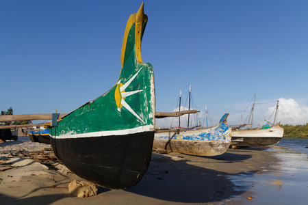 outrigger: MORONDAVA, MADAGASCAR, November 25, 2015 : The small harbor of Morondava. The outrigger canoes are used by Vezo fishermen, a semi-nomadic coastal people of southern Madagascar. Editorial