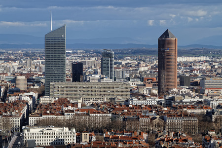 oxygene: LYON, FRANCE, January 11, 2016 : New business district of La Part-Dieu, and its towers, from Fourvire hill. The hill is the site of the original Roman settlement of Lugdunum.
