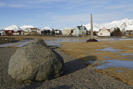 southeastern: Hofn is an Icelandic fishing town in the south-eastern part of the country. A narwhal horn tusk shaped wooden sculpture stands on the seafront.