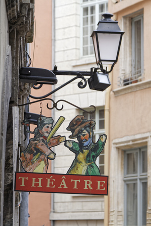 puppet show: LYON, FRANCE, April 9, 2016 : Guignol is the main character in a French puppet show which has come to bear his name. It represents the workers in the silk industry