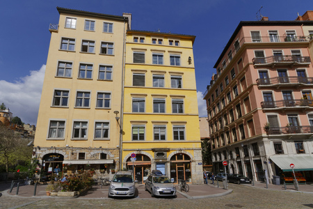 LYON, FRANCE, April 9, 2016 : The Historic districts of Lyons were designated a UNESCO World Heritage Site in 1998, for the exceptional testimony to the continuity of urban settlement over more than two millennia.