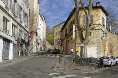 nicknamed: LYON, FRANCE, April 8, 2016 : La Croix-Rousse district. Due to silk industry history, district is nicknamed hill that works in contrast to the better-known hill, Fourviere, known as hill that prays. Editorial