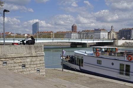 lyon: LYON, FRANCE, April 9, 2016 : Rhone river banks in the city of Lyon.