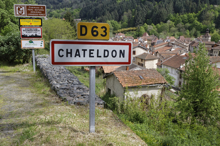 14th century: CHATELDON, FRANCE, May 7, 2016 : Chateldon is a medieval village in the northern part of Auvergne. It dates from the early Middle Ages, with many of its buildings dating back to the 14th century.