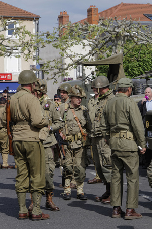 ending: PUY-GUILLAUME, FRANCE, May 7, 2016 : Collectors association of military vehicles commemorates the ending of the Second World War in the village of Puy-Guillaume. Editorial