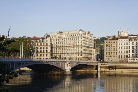lafayette: LYON, FRANCE, May 21, 2016 : Rhone river banks in Lyon. The bridge Lafayette in Lyon is the third oldest bridge on the Rhone river. Editorial