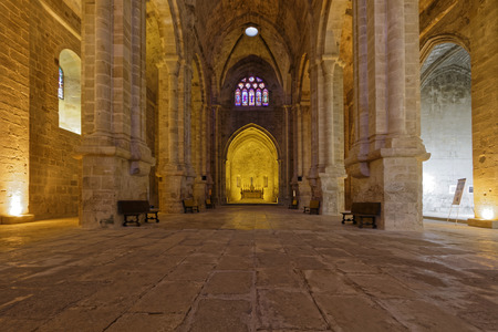 restored: FONTFROIDE, FRANCE, May 28, 2016 : Fontfroide Abbey or Abbaye Sainte-Marie de Fontfroide is a former Cistercian monastery. It has been restored over a number of years and used as a centre for artistic projects. Editorial