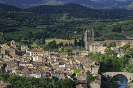 origins: LAGRASSE, FRANCE, May 30, 2016 : The Abbey of St. Mary of Lagrasse is a Romanesque Benedictine abbey in the medieval village of Lagrasse, whose origins date to the 7th century.