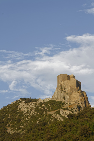 denote: CUCUGNAN, FRANCE, May 27, 2016 : Queribus is one of the five castles strategically placed to defend the French border. Cathar castles is a modern term used by the tourism industry to denote a number of medieval castles of the Languedoc region.