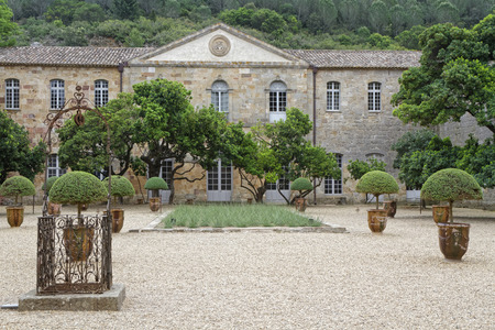 restoring: FONTFROIDE, FRANCE, May 28, 2016 : Fontfroide Abbey or Abbaye Sainte-Marie de Fontfroide is a former Cistercian monastery. It has been restored over a number of years and used as a centre for artistic projects. Editorial