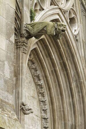 gargoyles: Gargoyles on the Cathedral of Carcassonne Stock Photo