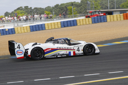 24 month old: LE MANS, FRANCE, July 9, 2016 : Peugeot 905 during Le Mans Classic on the circuit of the 24 hours. No other event in the world assembles so many old racing cars in the same place.