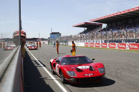 24 month old: LE MANS, FRANCE, July 10, 2016 : Ford GT410 before the start of Le Mans Classic on the circuit of the 24 hours. No other event in the world assembles so many old racing cars in the same place. Editorial