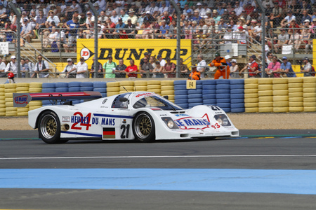 24 month old: LE MANS, FRANCE, July 9, 2016 : Porsche 962 during Le Mans Classic on the circuit of the 24 hours. No other event in the world assembles so many old racing cars in the same place. Editorial