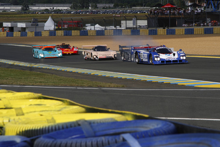 24 month old: LE MANS, FRANCE, July 9, 2016 : A race starts during Le Mans Classic on the circuit of the 24 hours. No other event in the world assembles so many old racing cars in the same place. Editorial