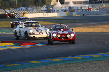 24 month old: LE MANS, FRANCE, July 9, 2016 : Old cars race during Le Mans Classic on the circuit of the 24 hours. No other event in the world assembles so many old racing cars in the same place.
