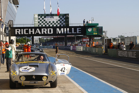 24 month old: LE MANS, FRANCE, July 9, 2016 : Ferrari 250GT in pitlane during Le Mans Classic on the circuit of the 24 hours. No other event in the world assembles so many old racing cars in the same place.