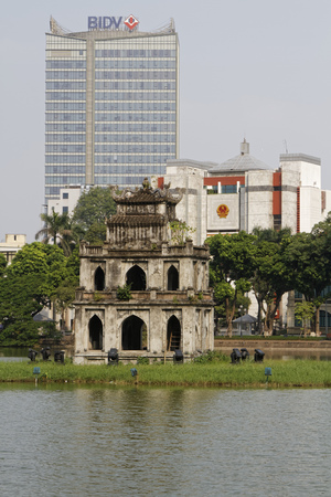 returned: HANOI, VIETNAM, October 22, 2016: Pagoda on Hoan Kiem Lake in Hanoi old Quarter (also called Expired Lake of the Returned Sword). Hanoi is the capital of Vietnam and the country second Largest city.