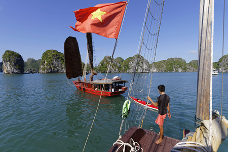 CAT BA, VIETNAM, October 27, 2016 : Scene of navigation in Cat Ba Archipelago, the southeastern edge of Ha Long Bay inscribed in the World Heritage List according to its outstanding limestone karstic geomorphologic features.