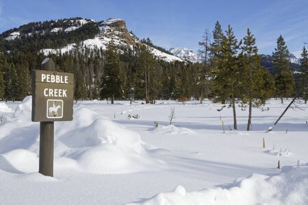 Rest place in winter landscape, Yellowstone National Park