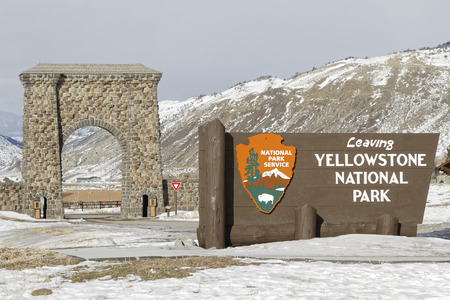 GARDINER, MONTANA, January 22, 2017 :  The Roosevelt Arch is a rusticated triumphal arch at the north entrance to Yellowstone National Park in Gardiner. Constructed under the supervision of the US Army, its cornerstone was laid down by President Theodore