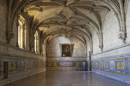LISBON, Portugal, April 6, 2017 : The refectory in Jeronimos Monastery. One of the most prominent examples of the Portuguese Late Gothic Manueline style of architecture, it is classified a UNESCO World Heritage Site