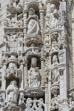 LISBON, Portugal, April 6, 2017 : South portal of Jeronimos Monastery. One of the most prominent examples of the Portuguese Late Gothic Manueline style of architecture, it is classified a UNESCO World Heritage Site 新聞圖片