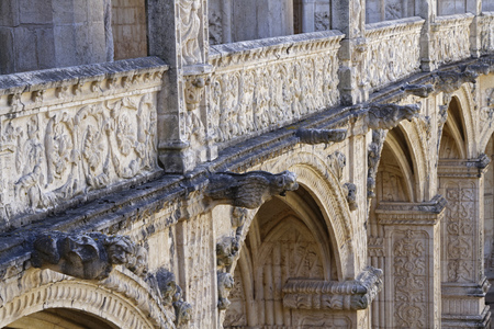 LISBON, Portugal, April 6, 2017 : The Jeronimos Monastery or Hieronymites Monastery (Mosteiro dos Jeronimos). One of the most prominent examples of the Portuguese Late Gothic Manueline style of architecture, it is classified a UNESCO World Heritage Site