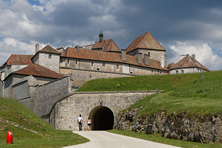 The Fort de Joux. The castle commands the mountain pass Cluse de Pontarlier and was improved by famous architect Vauban. Stock Photo