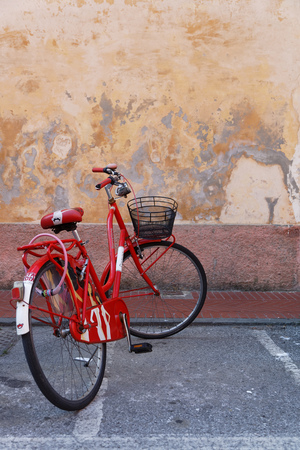 LEVANTO, Italy, June 2, 2017 : Bike in the streets of Levanto. Levanto, in the Italian region Liguria, lies on the coast at the end of a valley, thickly wooded with olive and pine trees and a part of its territory is included in the Cinque Terre National