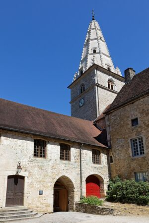 Baume Abbey, in its village of Baume-les-Messieurs, was founded during the reign of Louis the Pious in the early ninth century by Saint Eutice Stock Photo