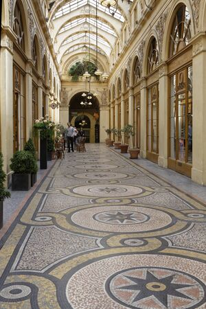PARIS, France, June 16, 2017 : The Galerie Vivienne is one of the famous covered passages of Paris. The gallery has been registered as a historical monument since 1974.