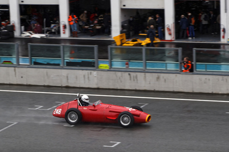 MAGNY-COURS, FRANCE, July 1, 2017 : Maserati 250 F. The First French Historic Grand Prix takes place in Magny-Cours with a lot of ancient sports and Formula one cars. Editorial