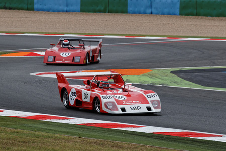 MAGNY-COURS, FRANCE, July 2, 2017 : Lola and Osella fighting on the track. The First French Historic Grand Prix takes place in Magny-Cours with a lot of ancient sports and Formula one cars. Editorial