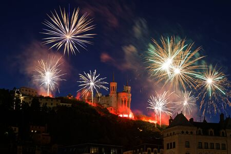 Fireworks on the hill of Fourviere in Lyon city center for the french National Day