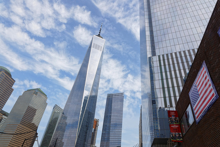 NEW YORK CITY, USA, September 12, 2017 : The One World Trade Center Tower is the tallest building in the Western Hemisphere and is situated in Lower Manhattan. Editorial