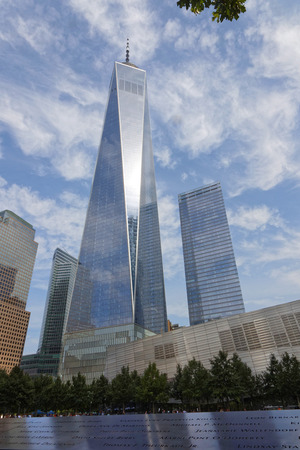 NEW YORK CITY, USA, September 12, 2017 : The One World Trade Center Tower is the tallest building in the Western Hemisphere and is situated in Lower Manhattan. Banco de Imagens - 86123606