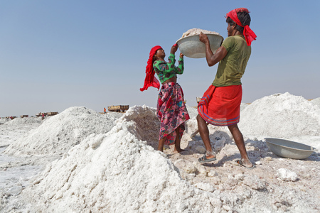 SAMBHAR, INDIA, October 28, 2017 : Works on Sambhar Salt Lake. It is the largest saline lake of India and is the source of most of Rajasthan salt production.
