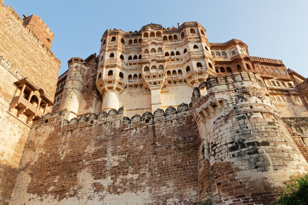 JODHPUR, INDIA, October 30, 2017: Mehrangarh (Mehran Fort) is one of the largest forts in India. Built around 1460 by Rao Jodha, the fort is situated above the city by imposing thick walls.