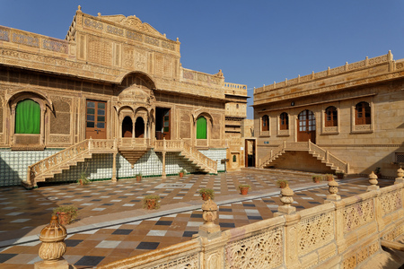 JAISALMER, INDIA, November 1, 2017 : Mandir Palace has been residence of the rulers of Jaisalmer for more than 2 centuries. Jaisalmer is sometimes called the Golden City because the yellow sandstone of its houses.