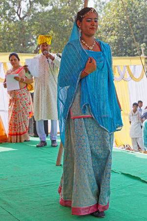 LAKHERI, INDIA, November 7, 2017 : Fashion show during Lakheri festival, a part of Bundi Utsav, a remarkable cluster of traditional art, rajasthani culture and craftsmanship.