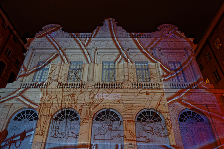 LYON, FRANCE, December 7, 2017 : Festival of the lights in Lyon. For four nights a variety of different artists light up buildings, streets, squares and parks all over the city.