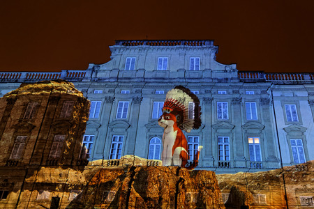 LYON, FRANCE, December 8, 2017 : Festival of the lights in Lyon. For 4 nights, different artists light up buildings, streets mixing poetry, splendor of the monuments and astonishing artistic creations