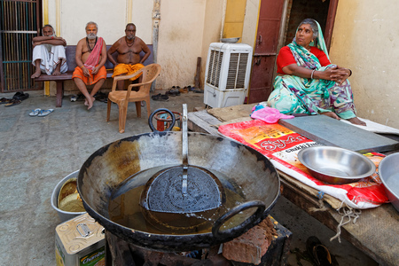 JAIPUR, INDIA, October 27, 2017 : Sadhus in an Ashram. A sadhu is a religious ascetic, mendicant or any holy person in Hinduism and Jainism who has renounced the worldly life. Редакционное