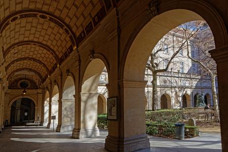 LYON, FRANCE, March 11, 2018 : Gardens of the Museum of Fine Arts of Lyon (in French, Musee des beaux-arts de Lyon), near the Place des Terreaux. Redakční