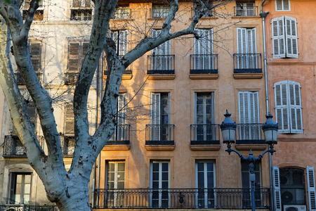 AIX-EN-PROVENCE, FRANCE, April 6, 2018 : Old town lies to the north of Cours Mirabeau with irregular streets and old mansions dating from the 16th, 17th and 18th centuries.