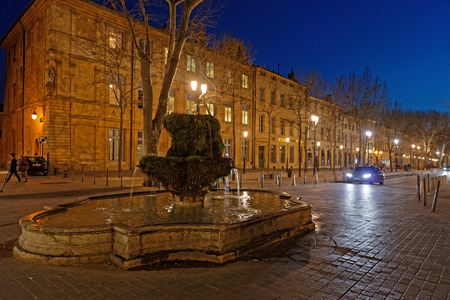 AIX-EN-PROVENCE, FRANCE, April 6, 2018 : The Cours Mirabeau in Aix-en-Provence at night. Editorial