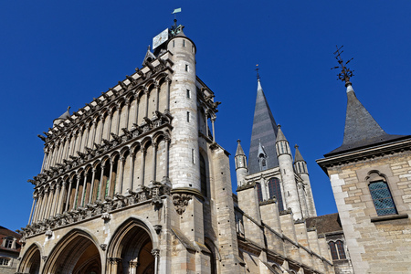 DIJON, FRANCE, May 20, 2018 : The Church of Notre-Dame of Dijon is a Roman Catholic church considered a masterpiece of 13th-century Gothic architecture, at the heart of the preserved old center of the city. Editorial