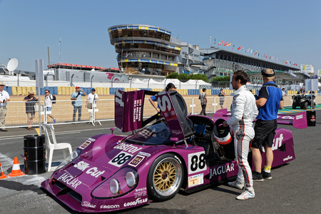 LE MANS, FRANCE, July 7, 2018 : Jaguar on the starting grid during Le Mans Classic on the circuit of the 24 hours. No other event in the world assembles so many old racing cars in the same place than Le Mans Classic.
